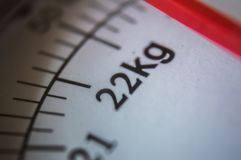 Close up of a scale with 22kg showing up.  Stock Photo