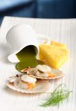 Close up Scallop seafood appetizer Royalty Free Stock Images