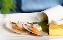 Close up Scallop seafood appetizer Stock Photography