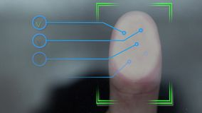 Close up of scanning fingerprint on screen and getting access.
