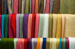 Close up scarf many background in street market fabric royalty free stock images