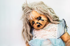 Close up of scary baby doll of halloween Stock Photos