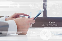 Close up scene of Business man using tablet with digital layer e Royalty Free Stock Photography