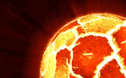 Close-up scene of exploding planet from its core, illustration Royalty Free Stock Photography