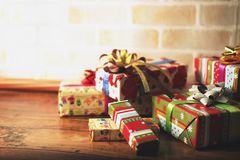 Presents scene. Close up scene of merry Christmas Royalty Free Stock Photography