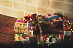 Presents scene. Close up scene of merry Christmas Royalty Free Stock Image