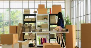 Asian black hair woman checking product stock. Close up scene video of young good looking Asian black hair woman in blue shirt checking product stock in product stock video footage