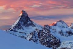 Close-up scenic view on snowy Matterhorn peak in sunny day, Matterhorn Peak, Zermatt, Switzerland royalty free stock photos