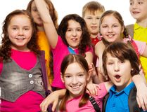 Close-up of school children group Royalty Free Stock Photo