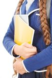 Close up of school girl with pigtails and Royalty Free Stock Image