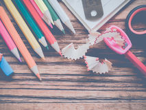 Close up school and office supplies Royalty Free Stock Image
