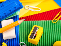Close up of school supplies. Close up of group art school supplies Royalty Free Stock Image