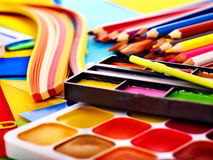 Close up of school supplies. Stock Photos