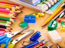 Close up of school supplies. Royalty Free Stock Photography