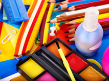 Close up of school supplies. Royalty Free Stock Photos