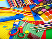 Close up of school supplies. Stock Photo