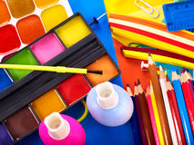 Close up of school supplies. Royalty Free Stock Images