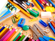 Close up of school supplies. Stock Image