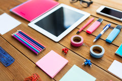 Close up of school supplies and tablet pc Stock Photos
