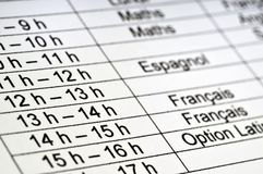 Schedule of a French schoolboy stock photography