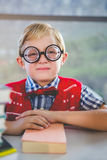 Close-up of schoolkid pretending to be a teacher in classroom Stock Images