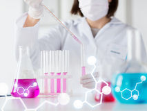 Close up of scientist making test in lab Stock Photos