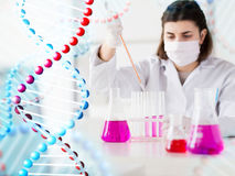 Close up of scientist making test in lab Stock Photography
