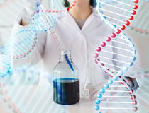 Close up of scientist making test in lab Royalty Free Stock Photo