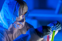Close up of scientist making test in laboratory Royalty Free Stock Photos