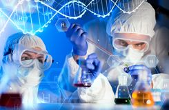 Close up of scientists making test in lab Stock Image