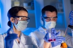 Close up of scientists making test in lab Royalty Free Stock Images