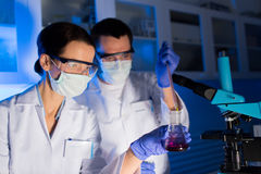 Close up of scientists making test in lab Royalty Free Stock Photography