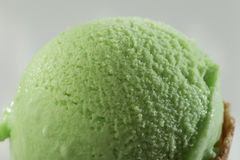 Close up of Scoop of delicious real fresh ice cream in Pistachio flavour. Royalty Free Stock Photography