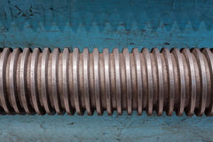 Close-up on screw. Part of the old turning lathe Stock Photo