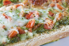 Close-up Scrumptious Pizza Baguette Royalty Free Stock Images