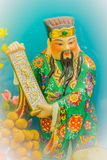Close up sculpture of Cai Shen, Chinese God of wealth, God of fo. Rtune Royalty Free Stock Photography