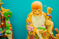 Close up sculpture of Cai Shen, Chinese God of wealth, God of fo Stock Photo