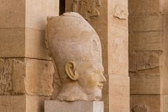 Close up of a sculpture of Pharaoh at the Mortuary temple of Hatshepsut, Luxor. Egypt stock photography