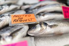 Close up of sea bass spread over ice on a fish monger's market. Stall in England, with a hand written label stating filleted on request Stock Images