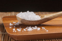 Close up of sea salt in spoon. Stock Photo