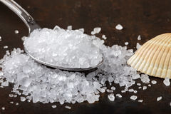 Close up of sea salt in stainless steel spoon Royalty Free Stock Photography