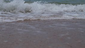 Close up of sea surf splashing stock video