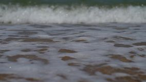 Close up of sea surf splashing stock video footage
