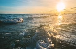 Close up sea wave at sunset time, summer background. Stock Image