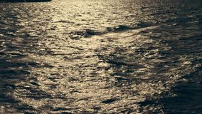 Close-up, sea waves at sunset, in the rays of soft sunlight. glare on the water. stock footage