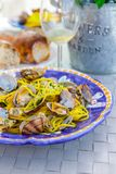 Close-up seafood pasta with clams Spaghetti alle Vongole royalty free stock photos