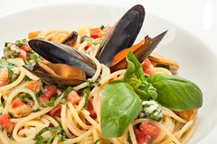 Close up of seafood spaghetti Royalty Free Stock Photos