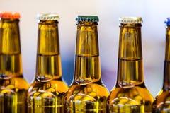 Close-up of sealed beer bottles Stock Image