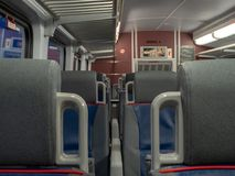 Close up of between seats in an empty train cabin Stock Images