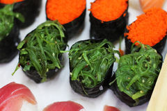 Close up seaweed sushi set with selective focus. Japanese food royalty free stock photo